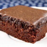 slice of chocolate cake on white plate