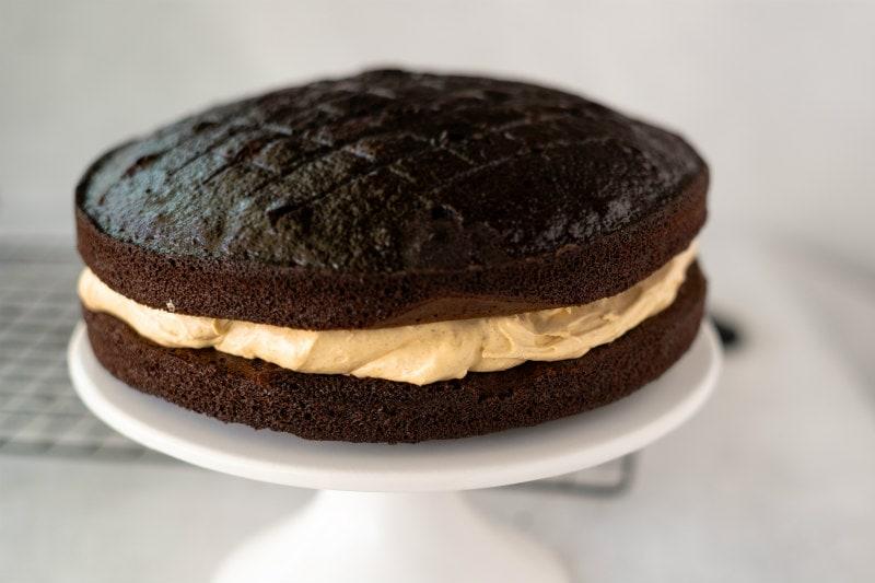 making chocolate harvest cake