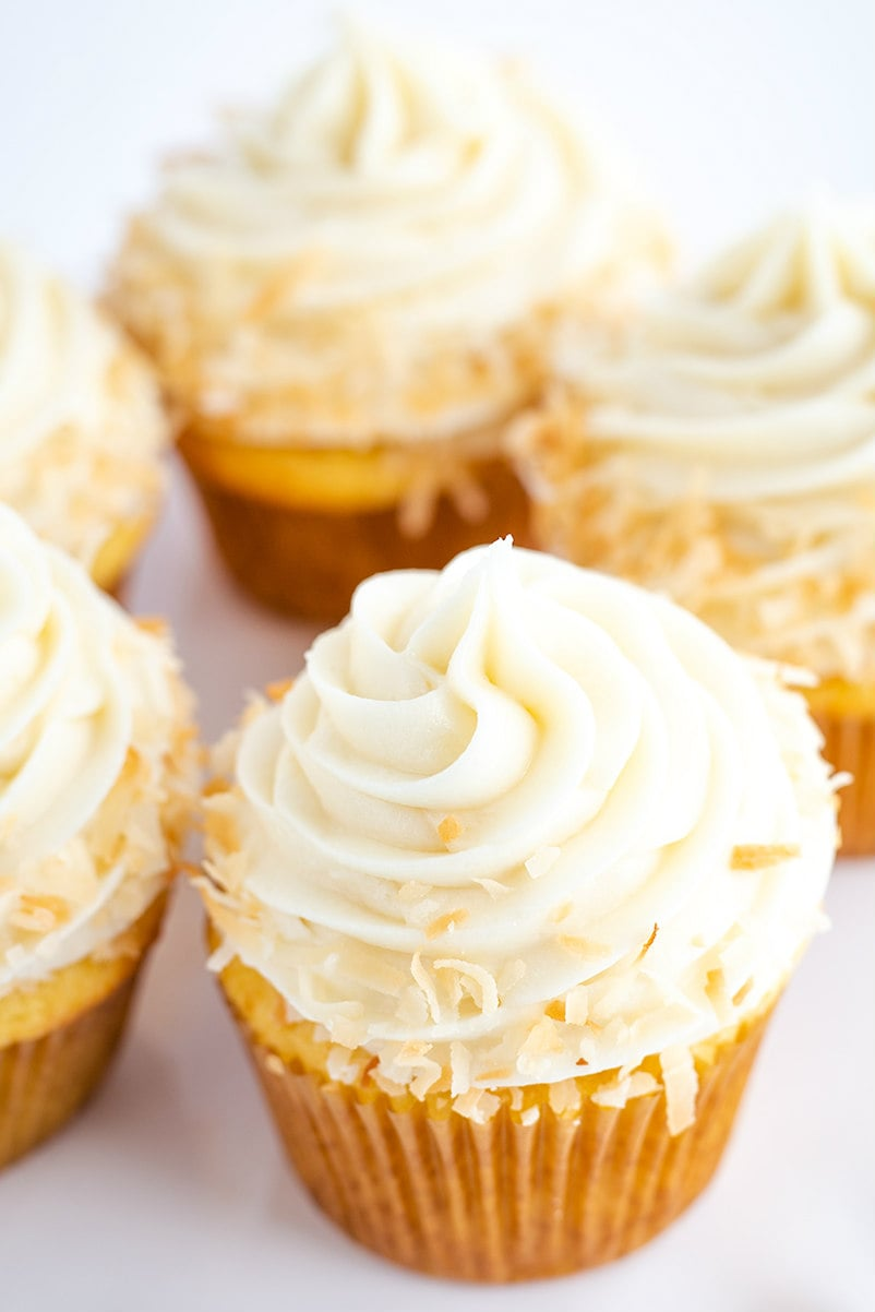 Cupcakes frosted with Coconut Buttercream Frosting