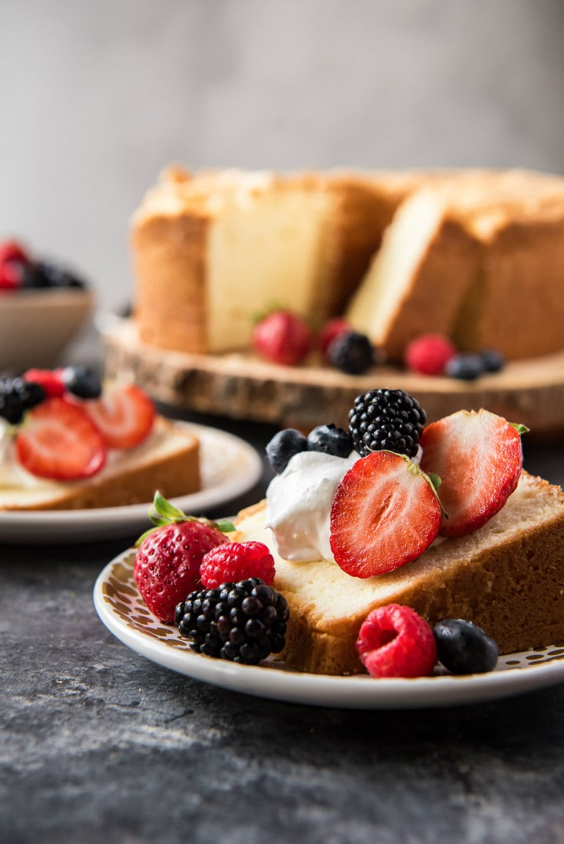 Sliced pound cake with whipped cream and berries