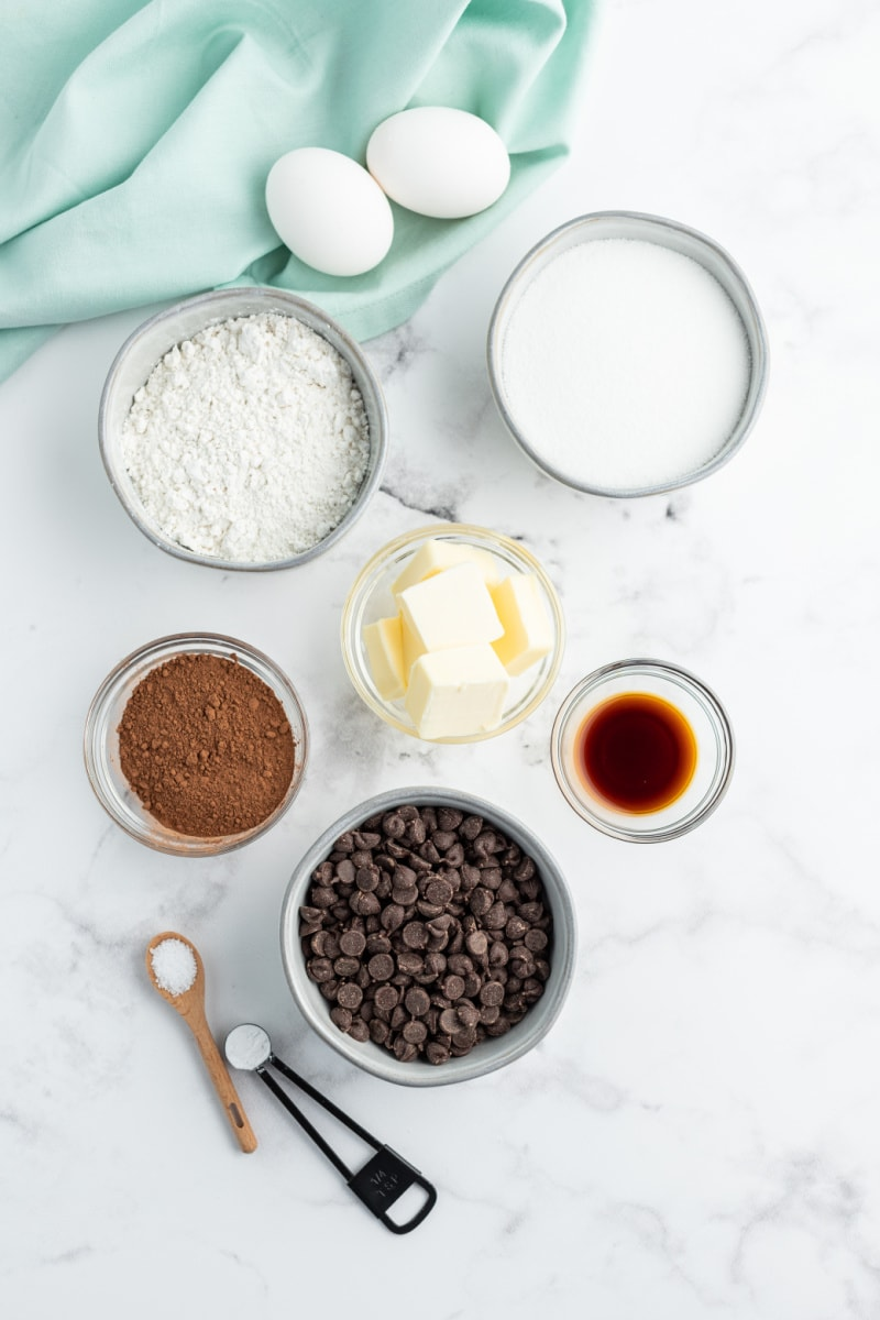 ingredients displayed for making double chocolate brownies