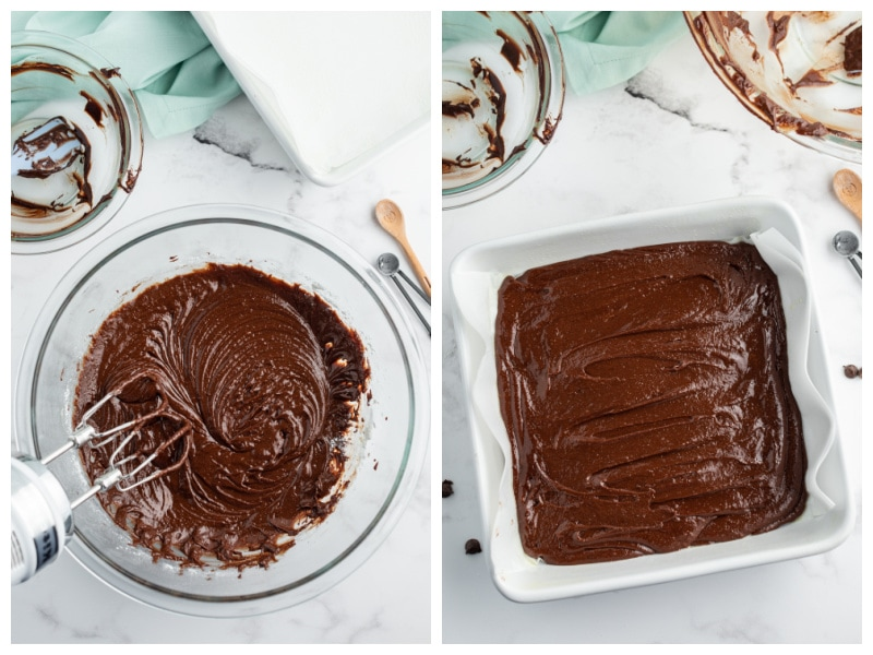 two photos showing brownie batter in bowl and then batter in a white square pan