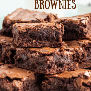 pinterest image for double chocolate brownies