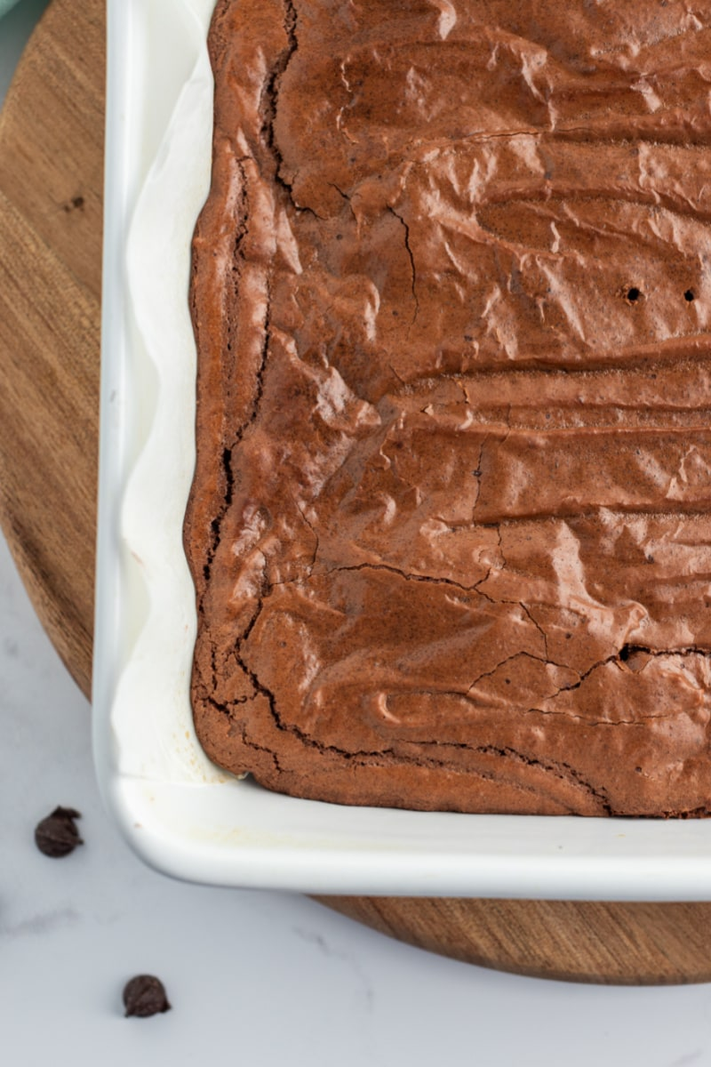 baked brownies in a white pan