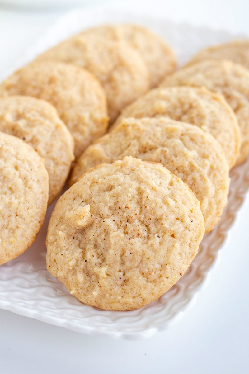 Eggnog Cookies on white platter