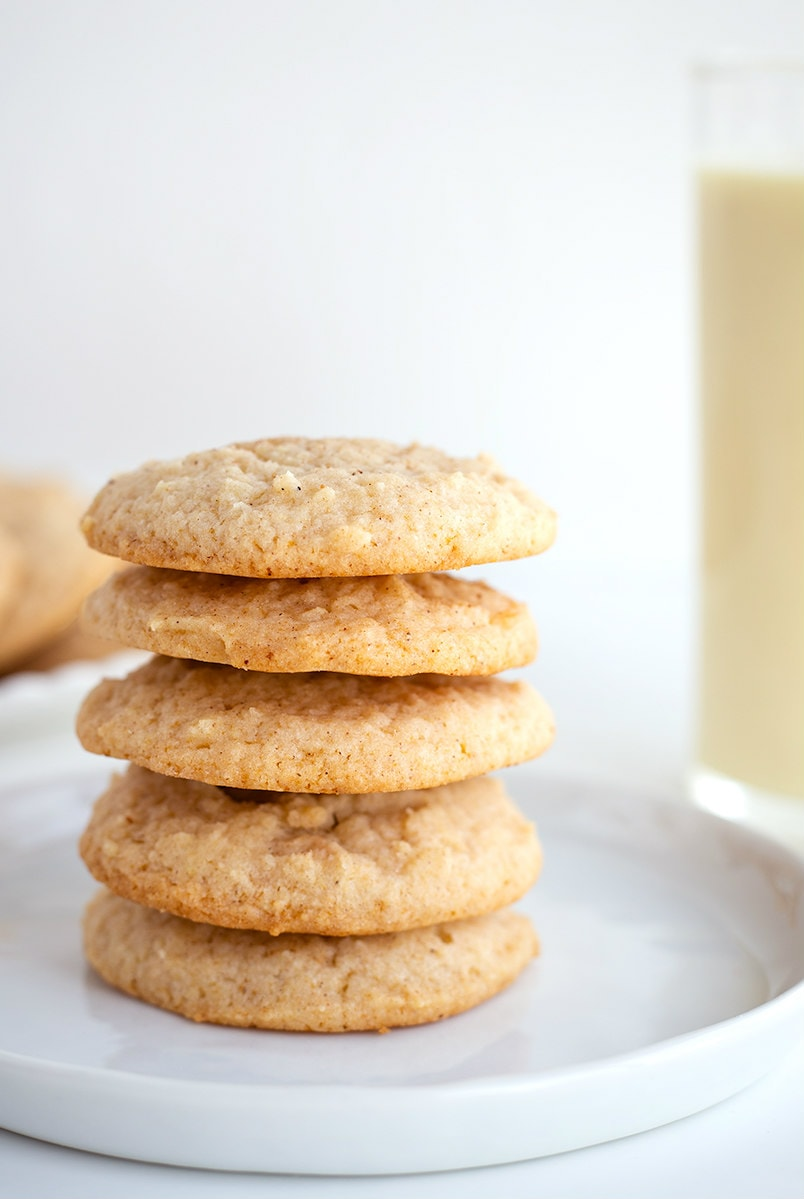 stack of Eggnog Cookies on white plate