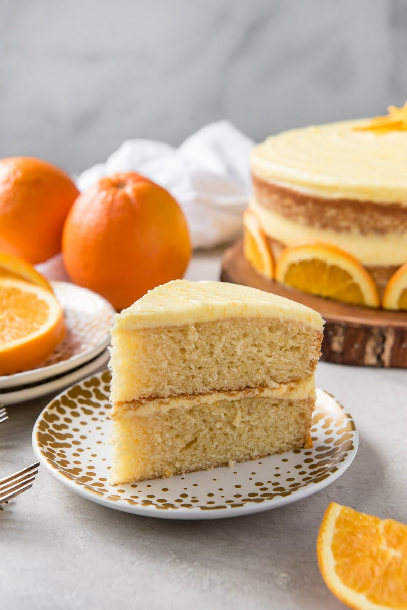 slice of fresh orange layer cake
