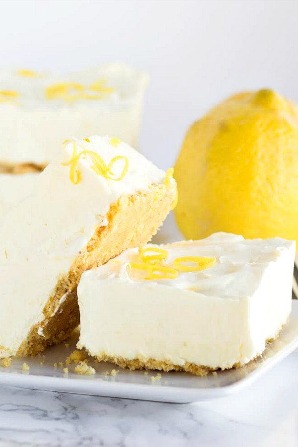Frozen Lemon Cheesecake Squares Recipe - RecipeGirl.com