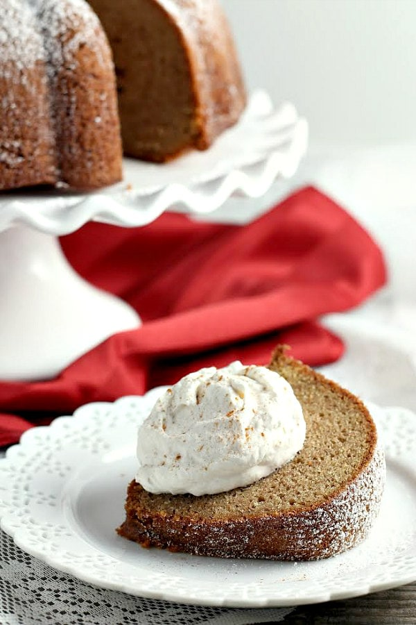 Gingerbread Cake with Cinnamon Cream Recipe - RecipeGirl.com