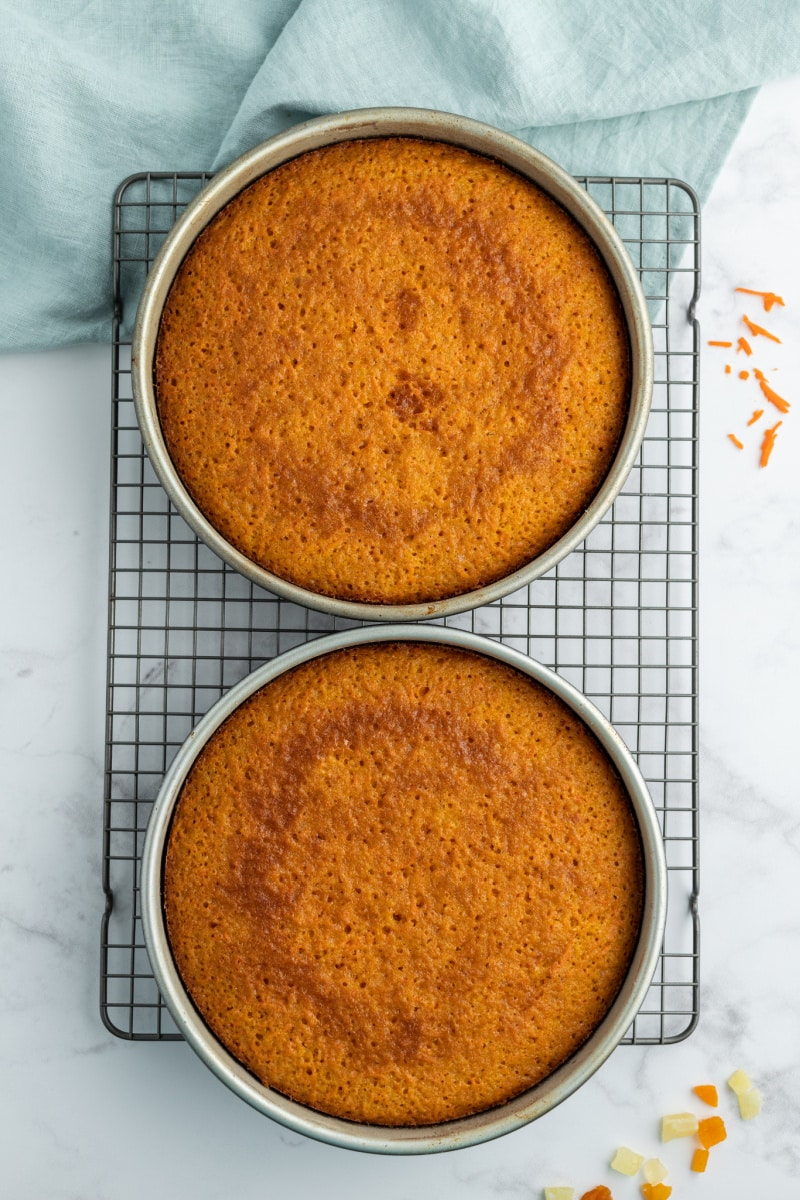 carrot cake in two round cake pans