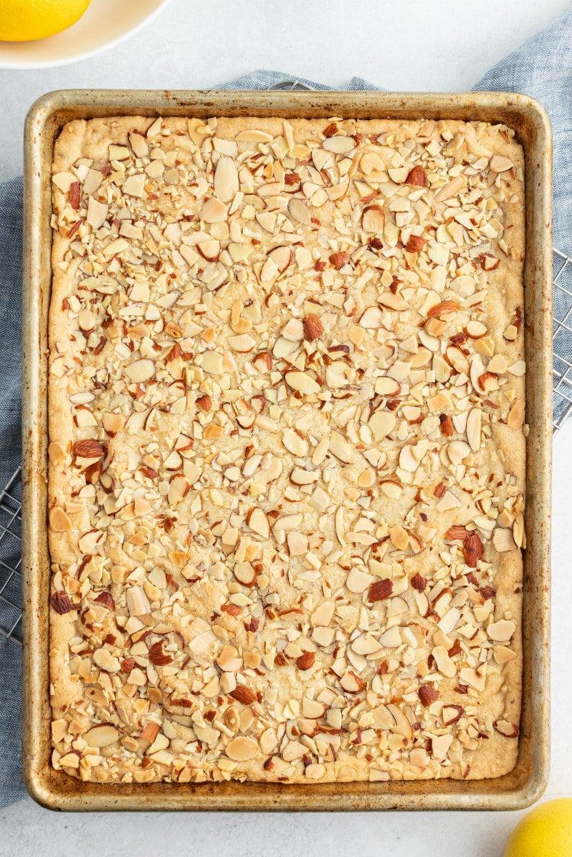 pan of lemon almond cookie brittle