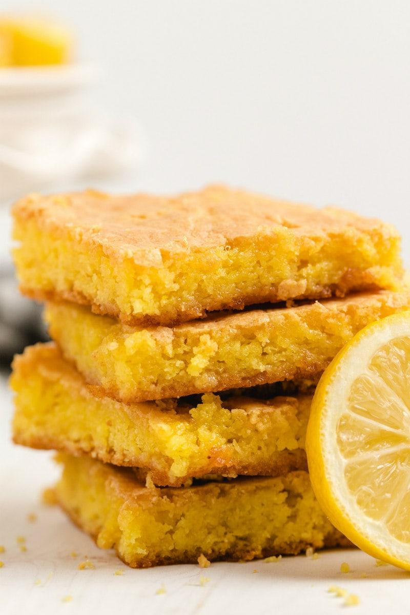 stack of Lemon Brownies