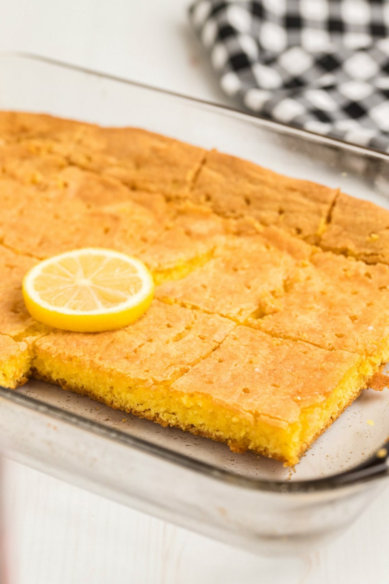 Lemon Brownies in the pan