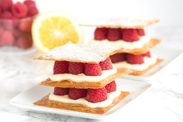 Lemon Cream and Raspberry Phyllo Napoleons