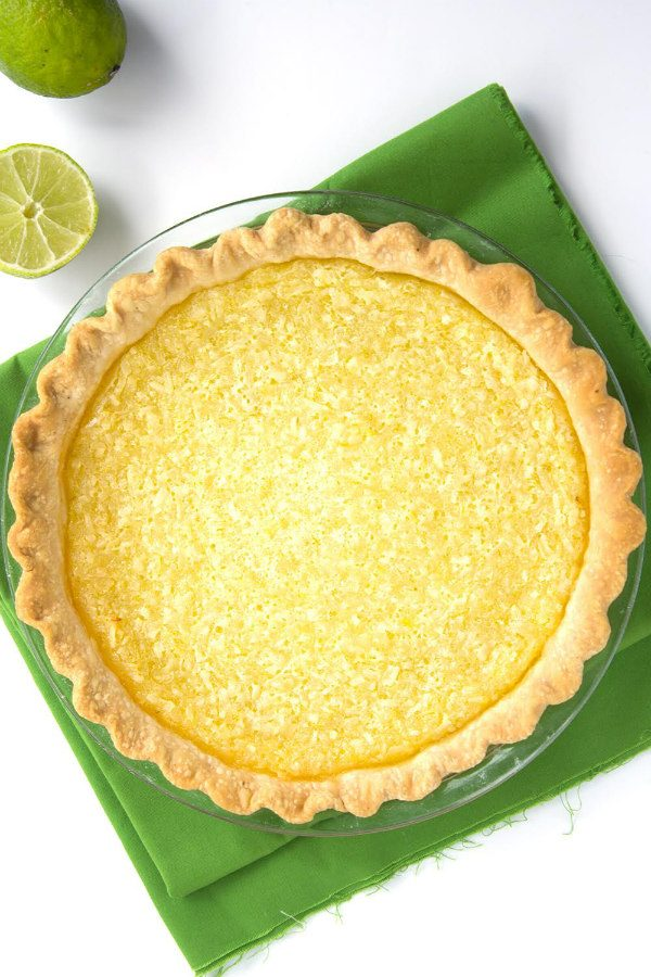 Lime Coconut Buttermilk Pie
