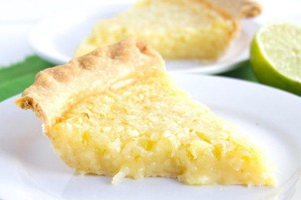 slice of Lime Coconut Buttermilk Pie