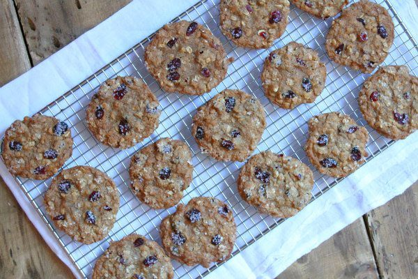 Maple Cranberry Oatmeal Cookies on a cooling rack