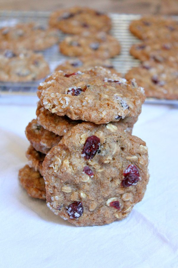 stack of Maple Cranberry Oatmeal Cookies