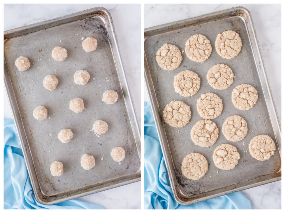 two photos - cookie dough on baking sheet and then baked cookies