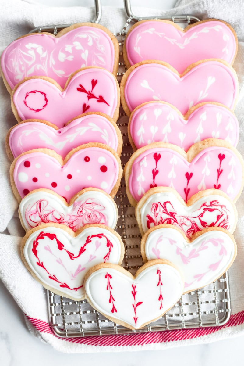 Valentine Sugar Cookies decorated with Royal Icing