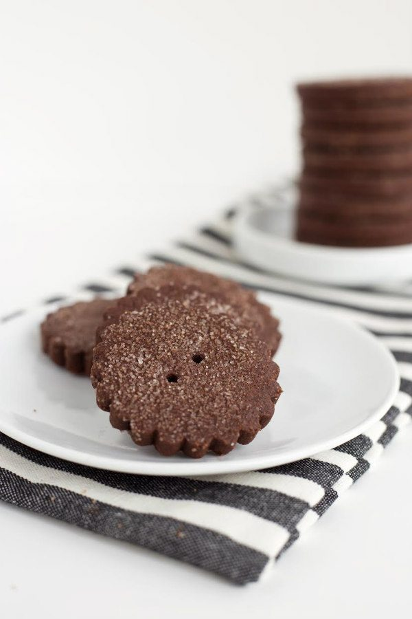 Mexican Chocolate Shortbread Cookies on a white plate