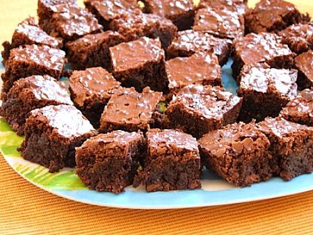 platter of ooey gooey brownie bites