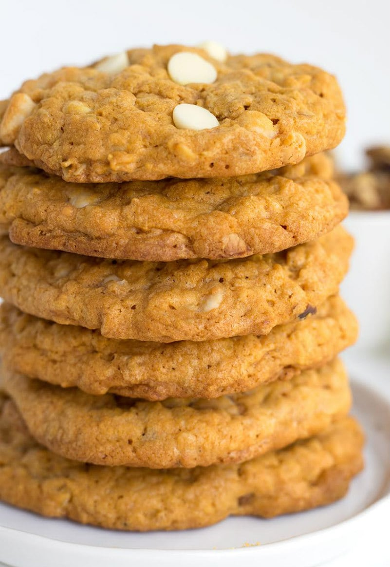 Stack of Pumpkin White Chocolate Cookies