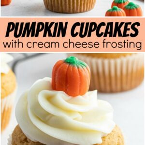 pinterest collage image for pumpkin cupcakes with cream cheese frosting