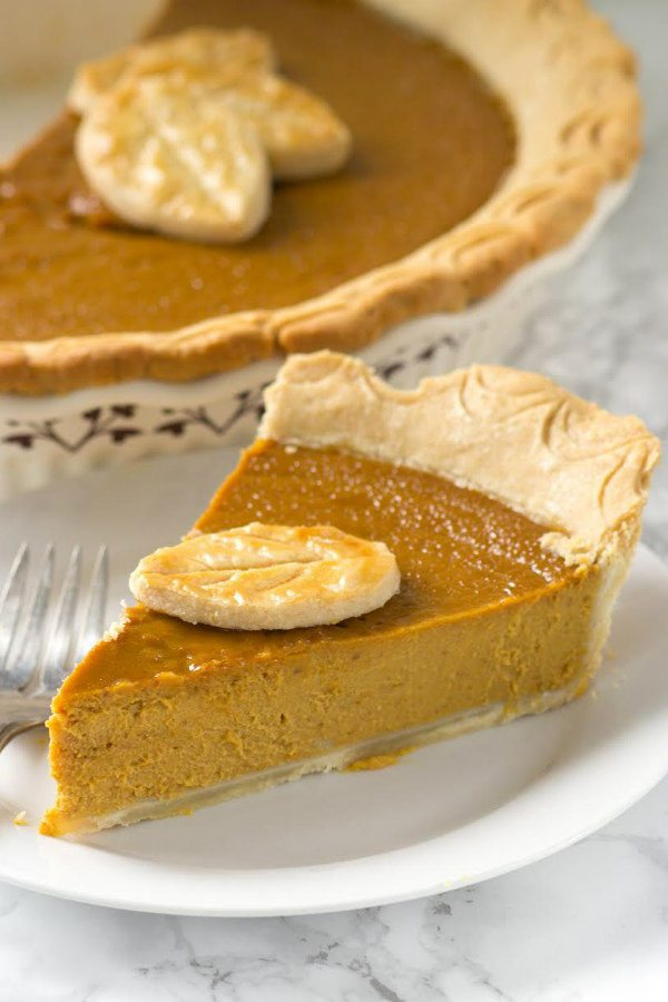 Pumpkin Peanut Butter Pie with Whiskey - recipe from RecipeGirl.com.  Great Thanksgiving pie recipe, thanksgiving dessert or dessert for fall holidays.