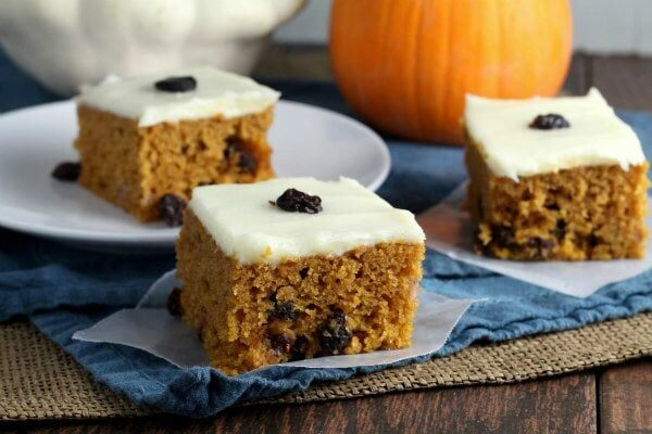 Pumpkin Raisin Bars recipe - from RecipeGirl.com