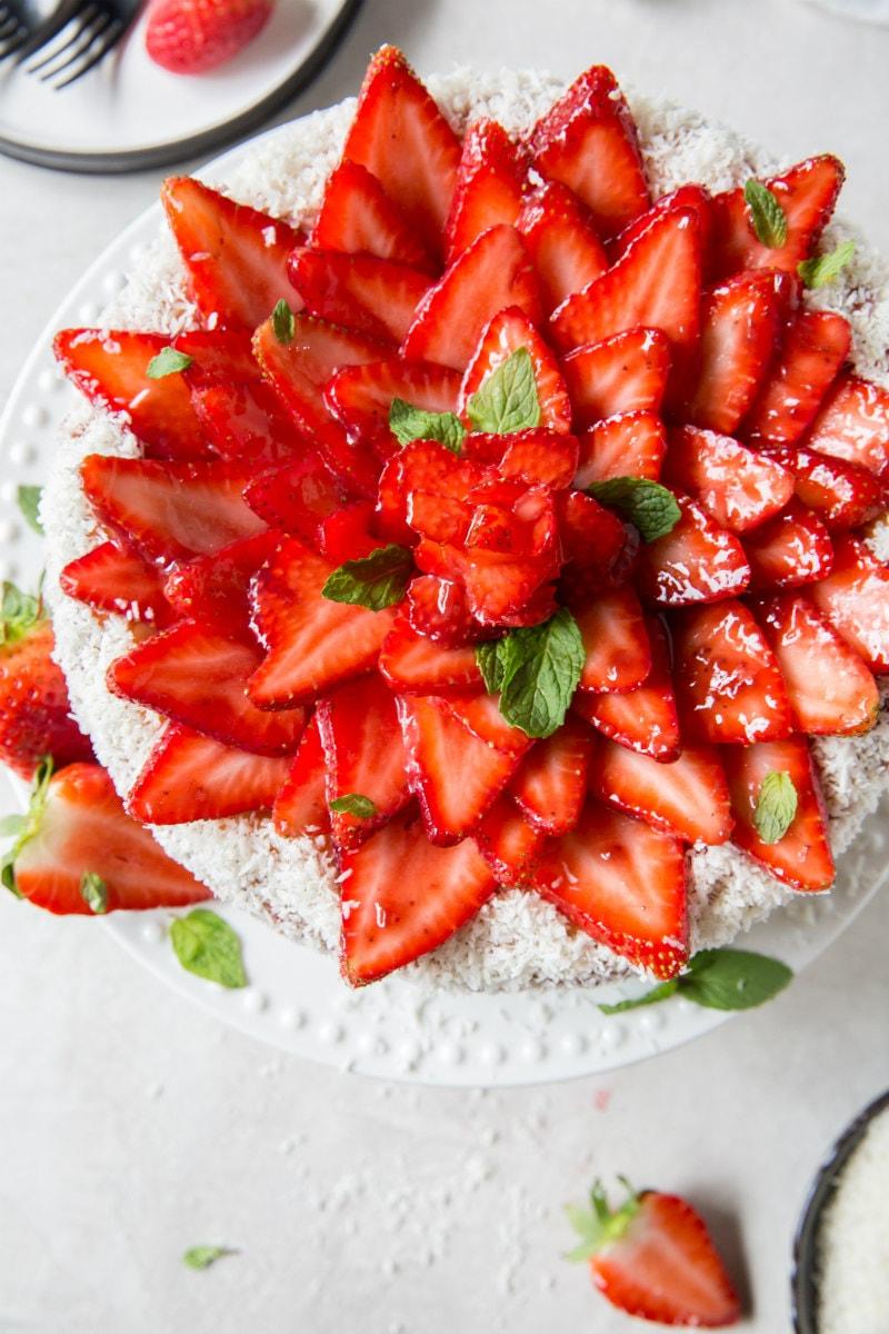overhead shot of strawberry coconut cheesecake