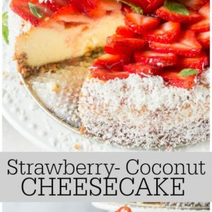 pinterest collage image for strawberry coconut cheesecake