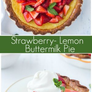 pinterest image for strawberry lemon buttermilk pie