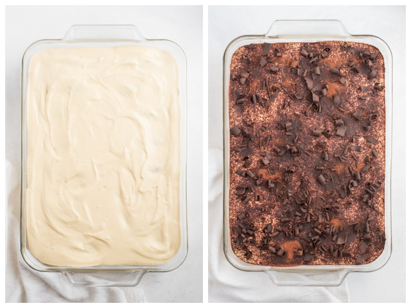 two photos of tiramisu, one plain and one with chocolate shavings on top