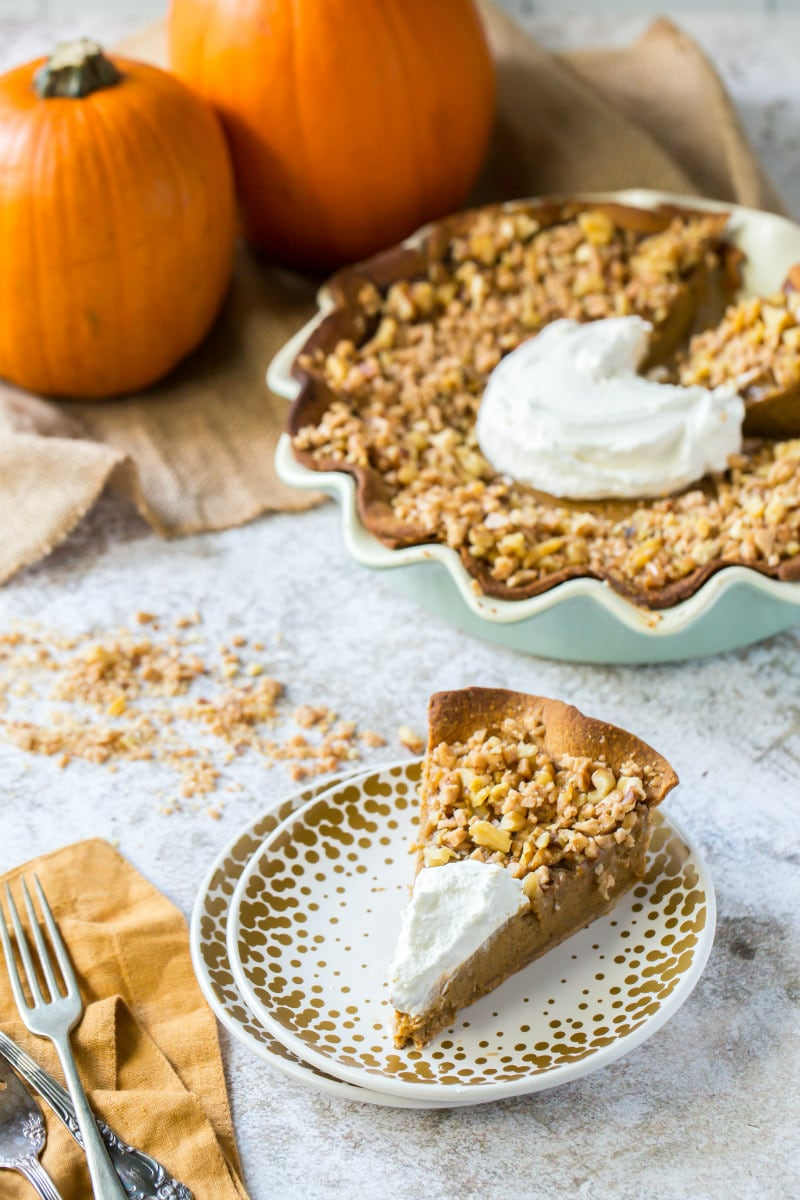 serving Pumpkin Pie with Toffee Walnut Topping