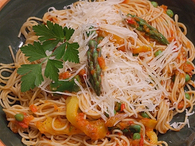 Angel Hair Pasta with Spring Vegetables and Red Pepper Tomato Sauce