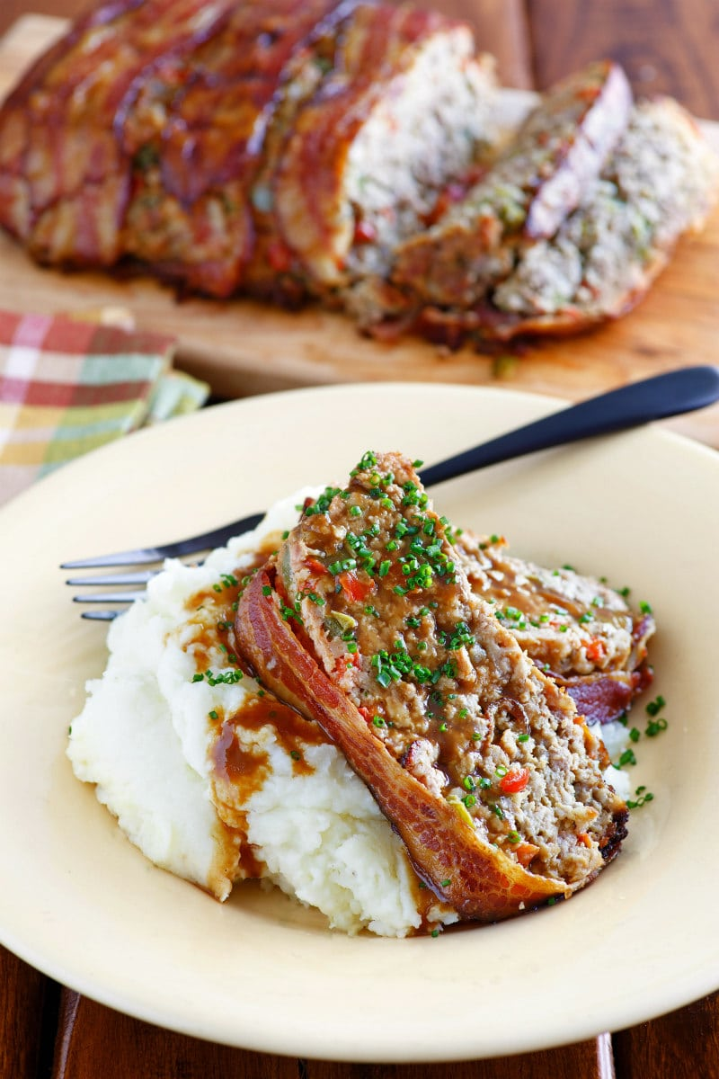 Slice of Bacon Wrapped Meatloaf