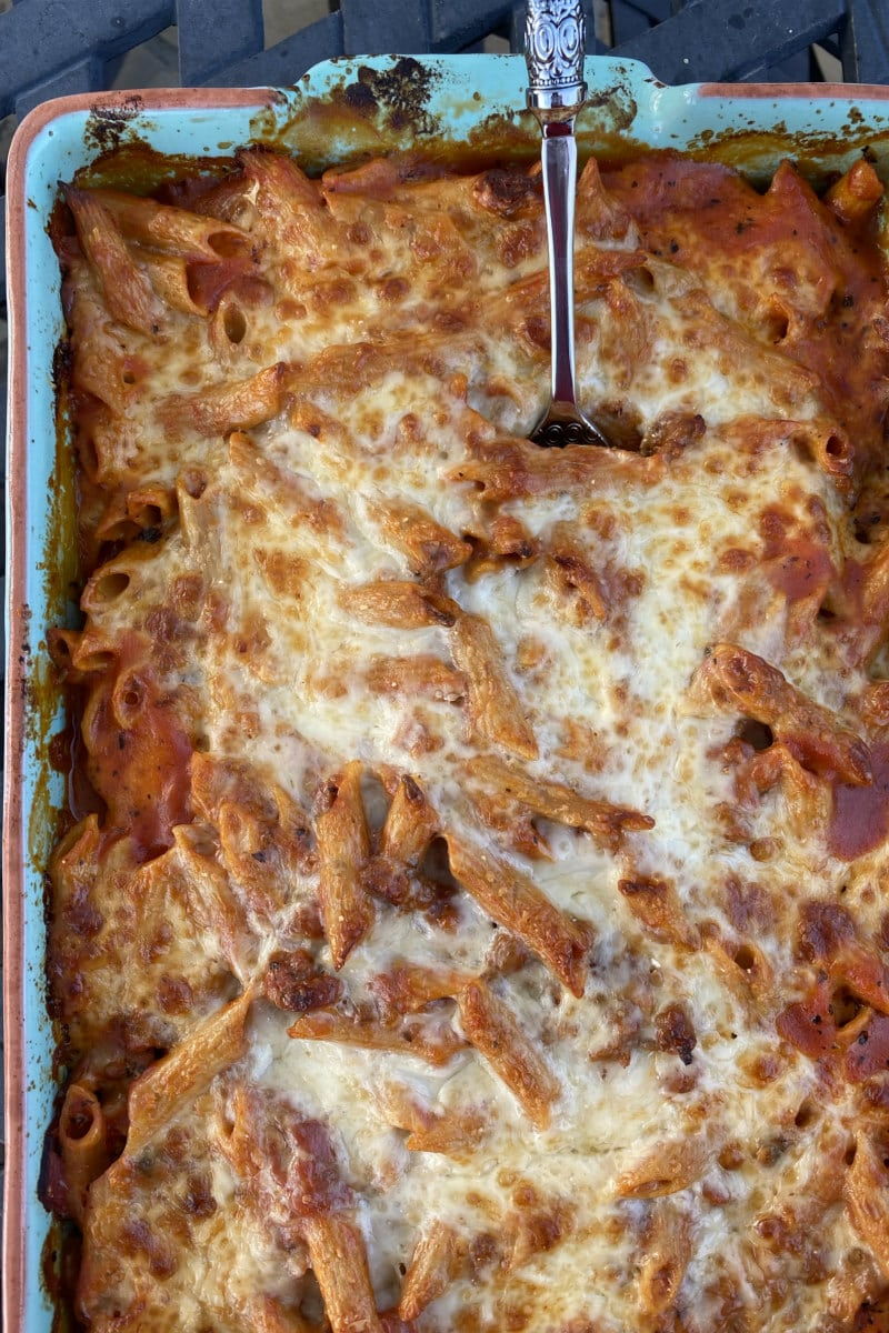 baked penne with italian sausage just out of the oven