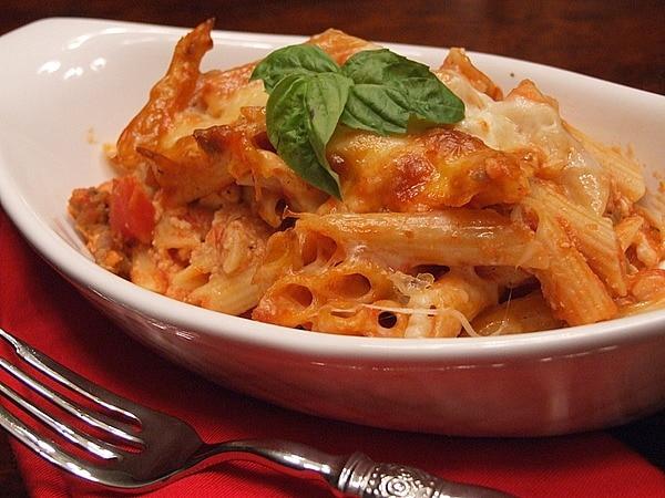 Pasta bake with salami recipe
