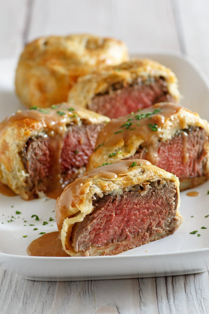 Beef Wellingtons served with Madeira Wine Sauce