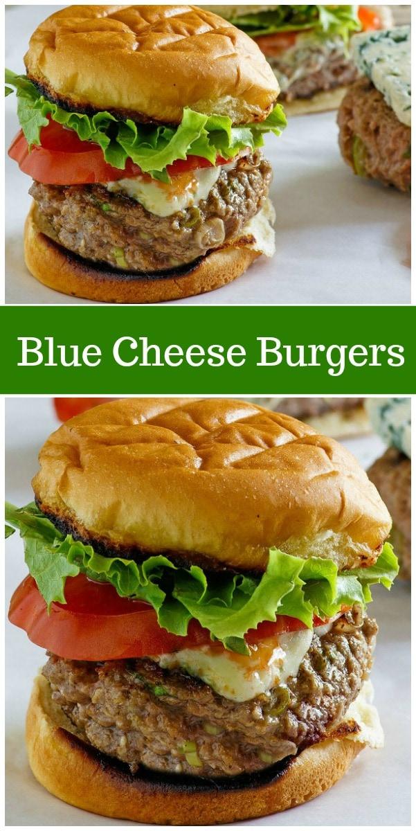 Blue Cheese Burgers from RecipeGirl.com #bluecheese #burgers #recipe #RecipeGirl