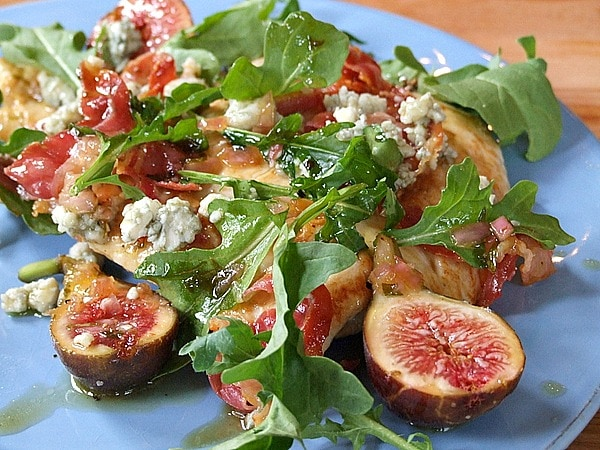 thighs with celery and blue cheese salad fig and blue cheese salad