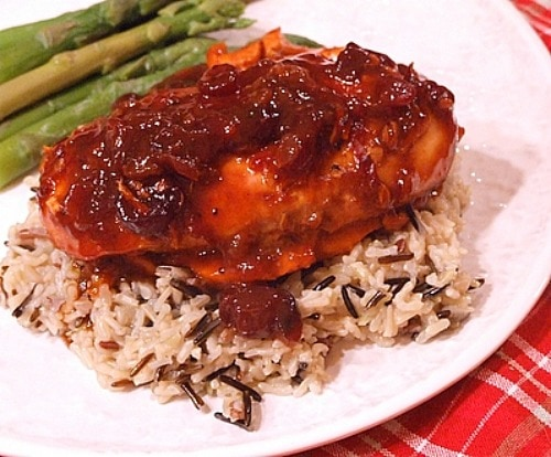 Cranberry Chicken served over rice
