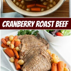 pinterest collage image for cranberry roast beef