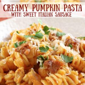 pinterest image for creamy pumpkin pasta