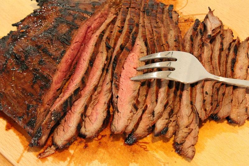 grilled flank steak sliced