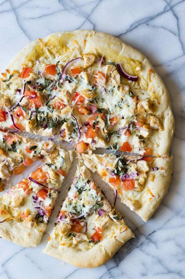 garlEasy Garlic Chicken Dijon Pizza recipe - from RecipeGirl.com
