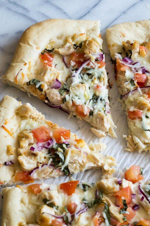 Easy Garlic Chicken Dijon Pizza recipe - from RecipeGirl.com