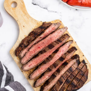 steak cut into slices on cutting board