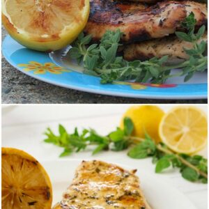pinterest collage image for grilled chicken with lemon and oregano